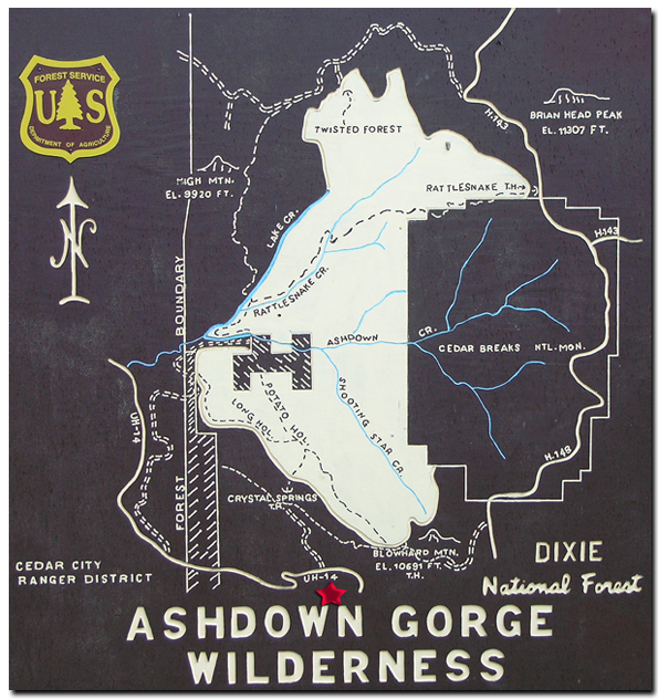 Map Ashdown Gorge Wilderness Area