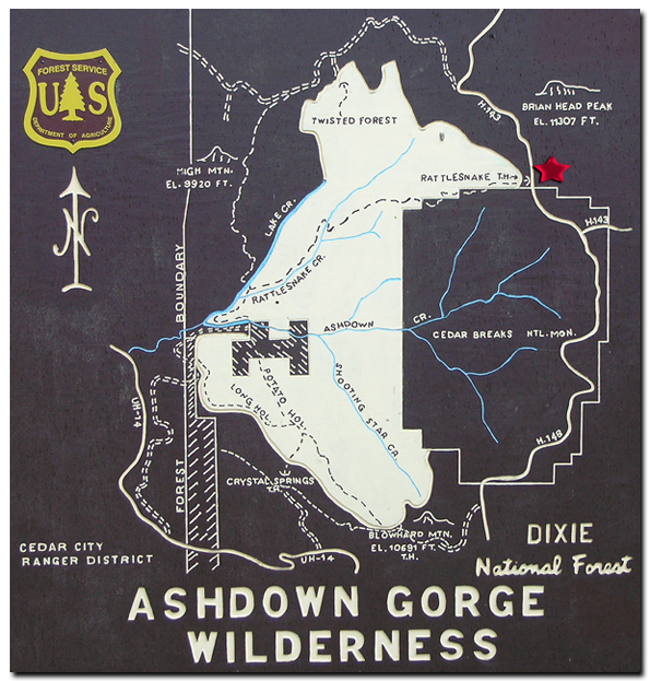 Map Ashdown Gorge Wildnerness Area