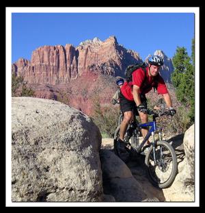 Zion Biking: Mark Mc Farland biking on the JEM Trail near Zion