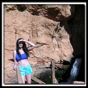 Tanya Milligan at Cascade Falls on Cedar Mountain in Dixie National Forest