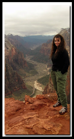 Zion's Observation Point Trai:  Tanya Milligan at the viewpointl