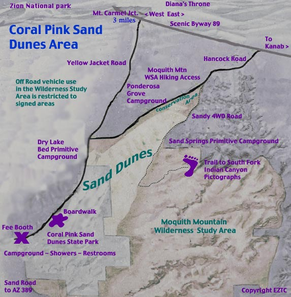 Map Coral Pink Sand Dunes
