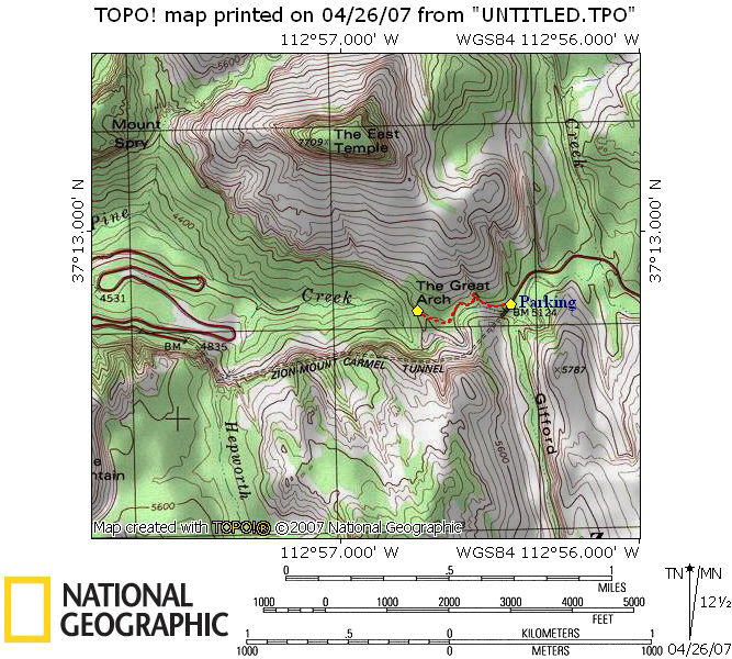 Zions Canyon Overlook Trail map