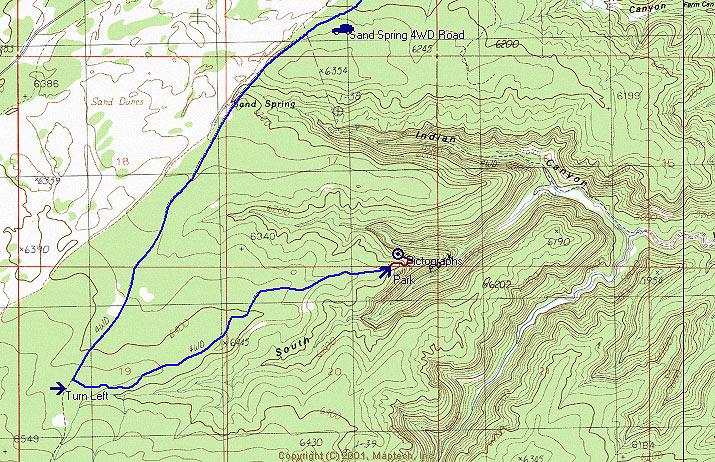 South Fork Indian Canyon Pictograph Map