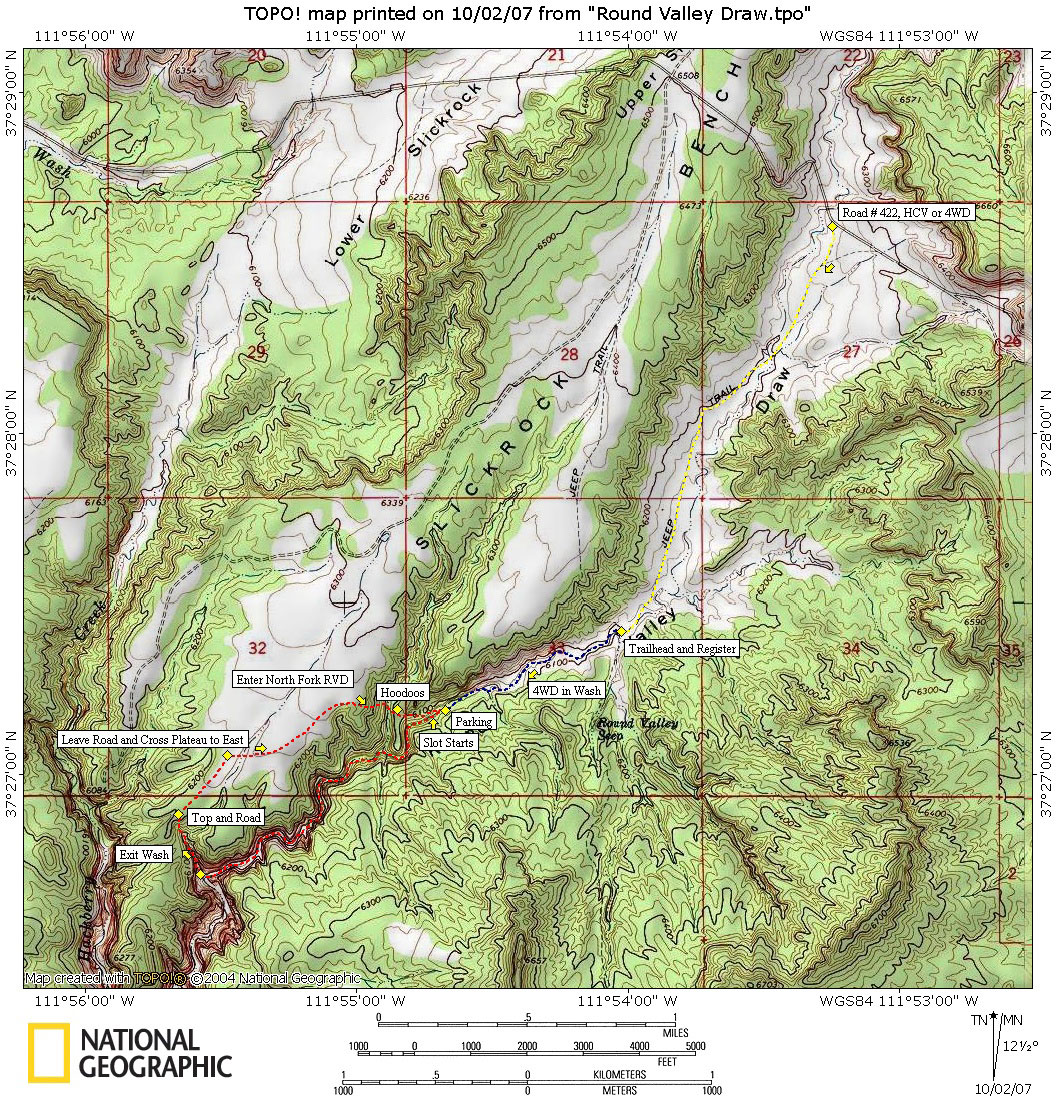Round Valley Draw Map: Grand Staircase-Escalante National Monument on