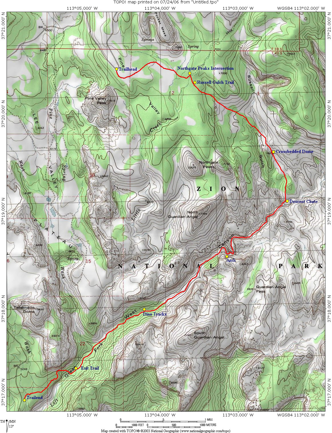 Zion Subway Hike Map