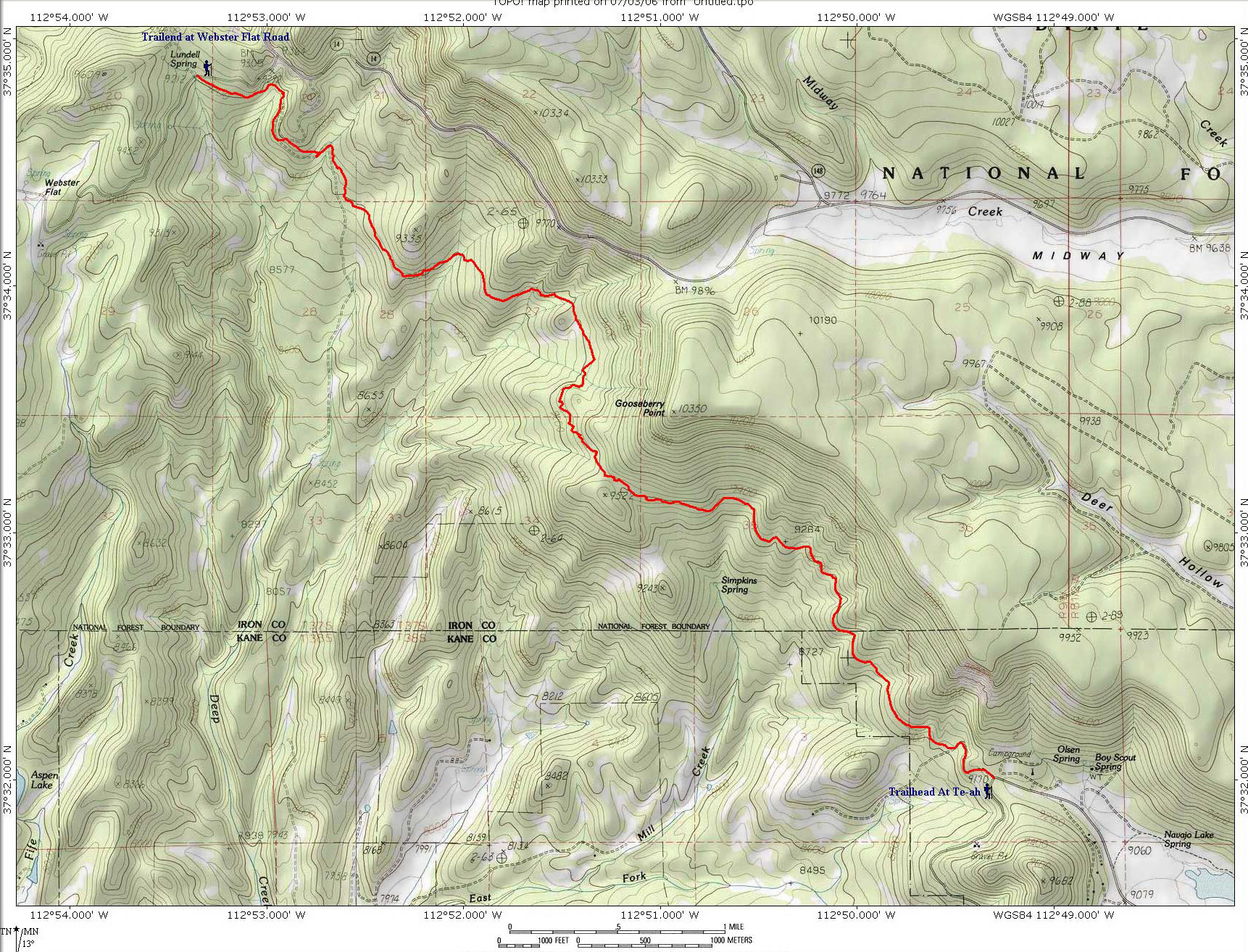 Map Virgin River Rim Trail - Te-ah Trailhead at Navajo Lake to Webster Flat