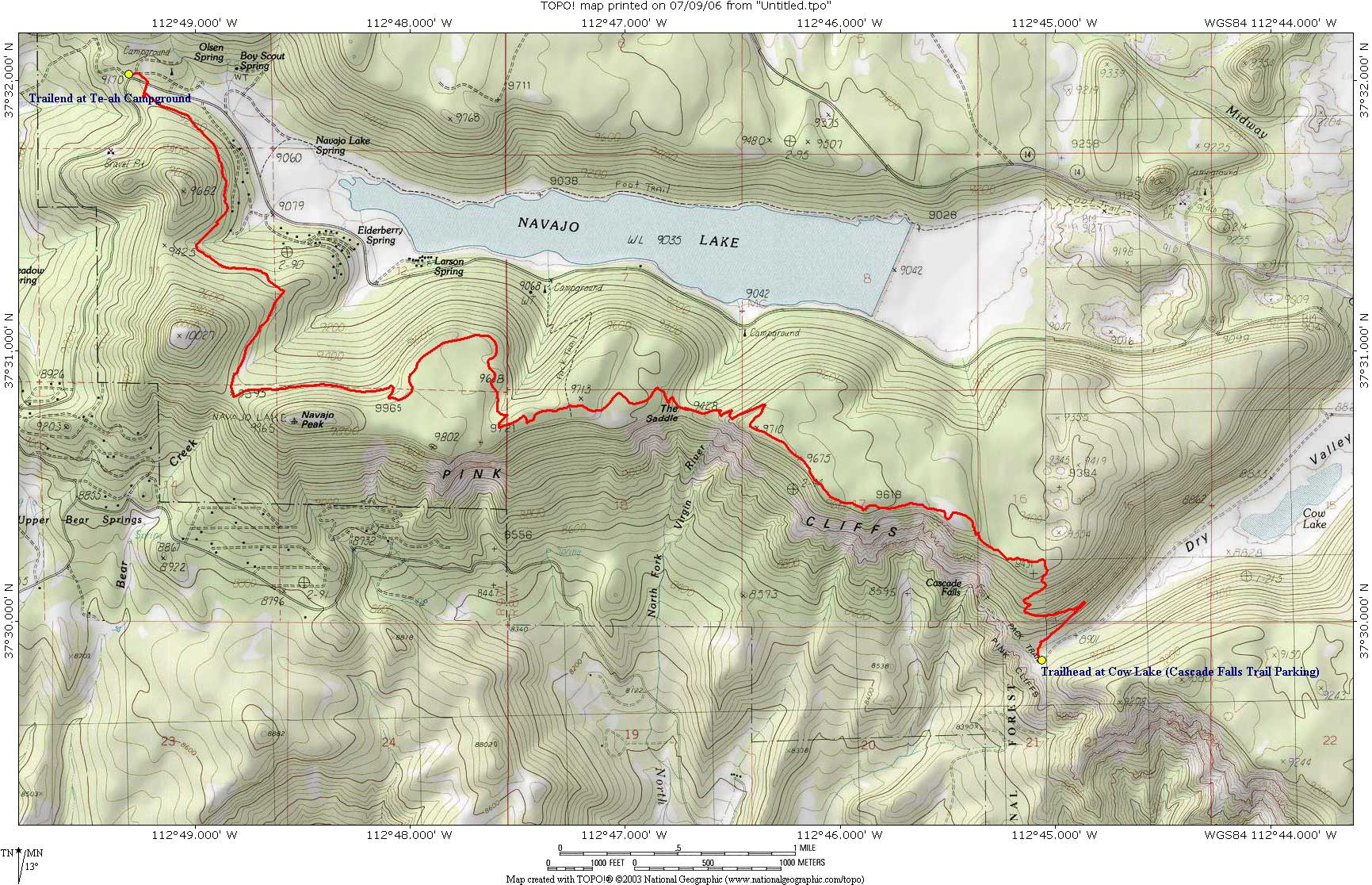 Topo Map Virgin River Rim Trail: Cascade Falls Trailhead to Te-ah Trialhead