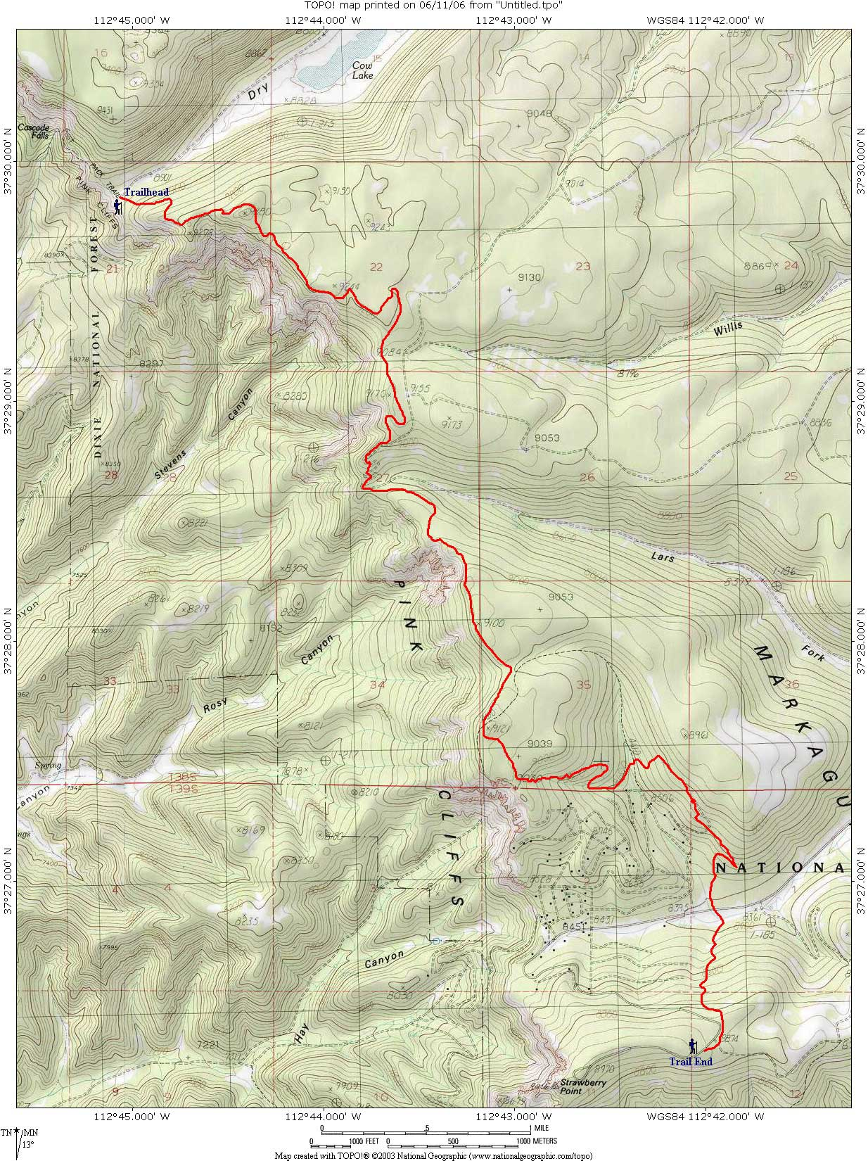 Topo Map: Virgin River Rim Trail - Dixie National Forest