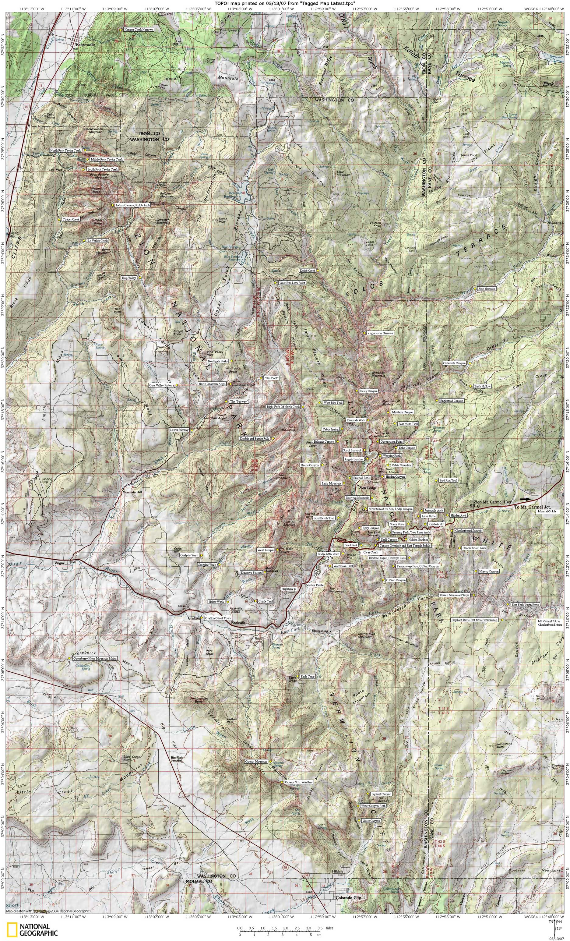 Zion National Backcountry Park Map Backcountry Map Zion National - Interactive topo map