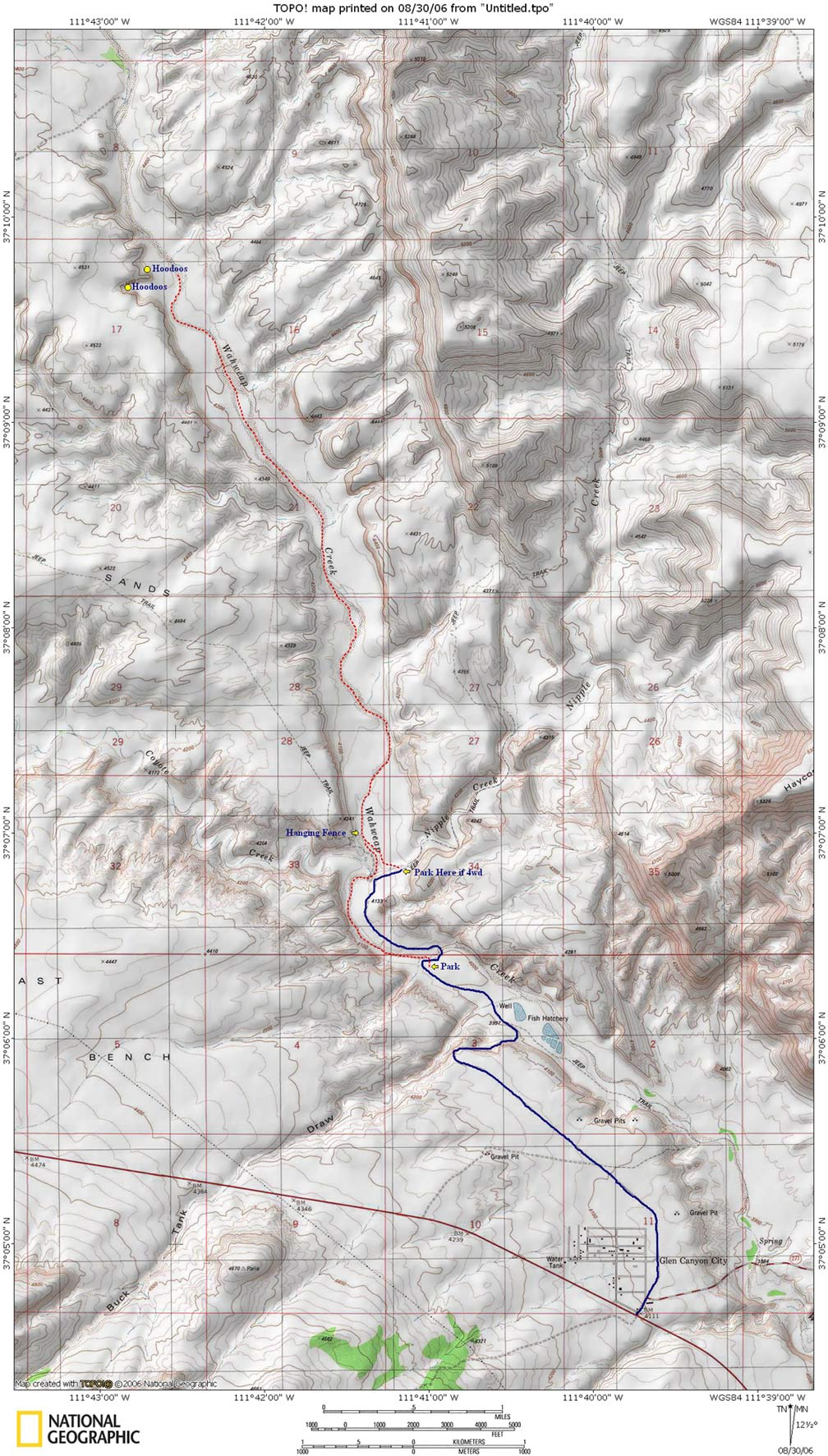 Wahweap Hoodoos Trail Map