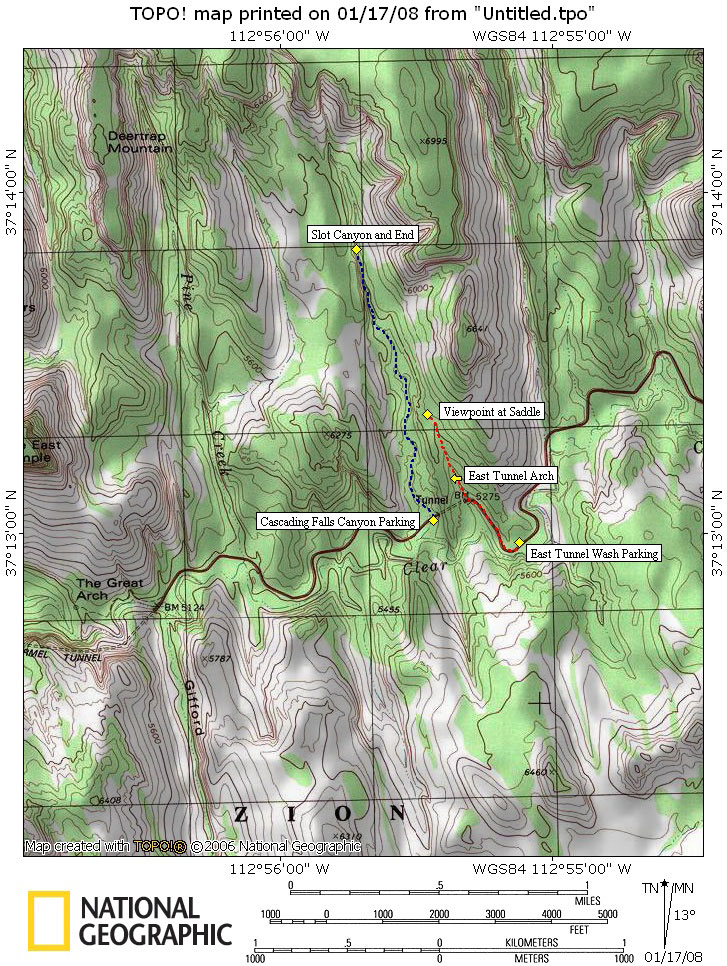 Tunnel Canyon Map - Cascading Falls Map